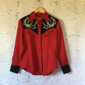 SCULLY RED FLORAL WESTERN SHIRT S